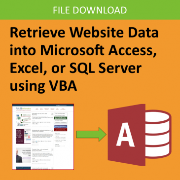 Retrieve Data from Website in Microsoft Access or Excel using VBA